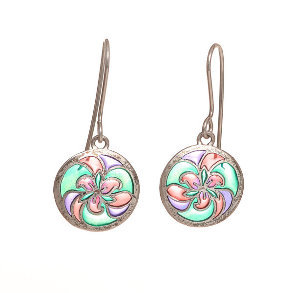 handmade enamel and silver trillium earrings, nc jeweler