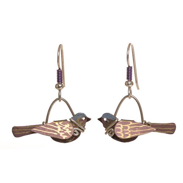 pink bird earrings