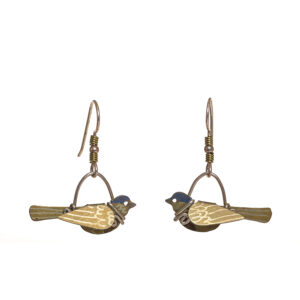 yellow bird titanium earrings, handmade bird earrings