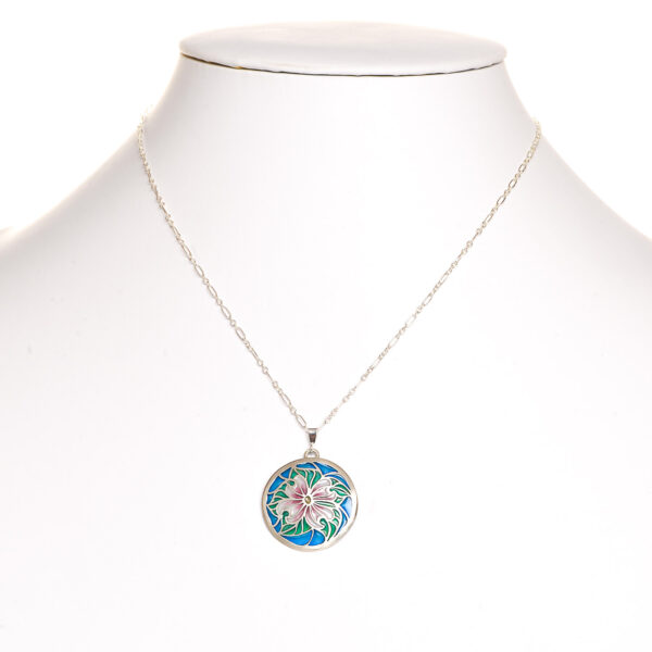 large dogwood enamel and silver necklace, plique a jour dogwood necklace