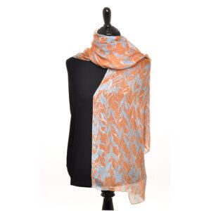 orange and blue handmade marbled silk scarf