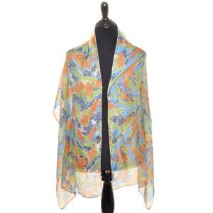 purple green orange and gray marbled silk scarf