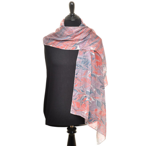 purple red and black handmade marbled silk scarf