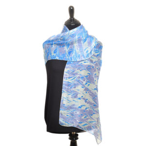 silk marble scarf in blue purple and lime green