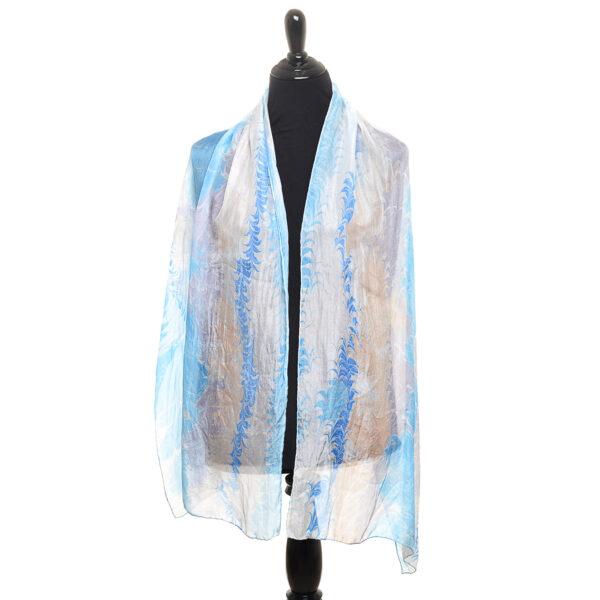 carolina blue silk marbled scarf