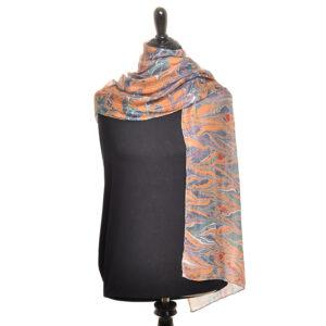 orange green and red marbled handmade silk scarf