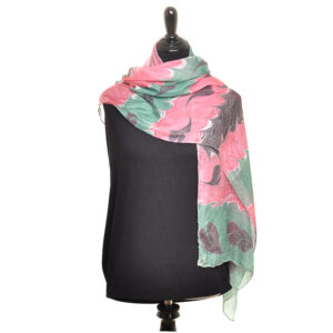pink green and black handmade marbled silk scarf with hearts