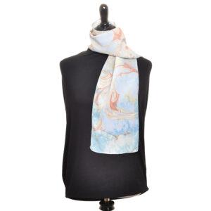 light indigo shibori dyed silk scarf marbled in a swirl pattern