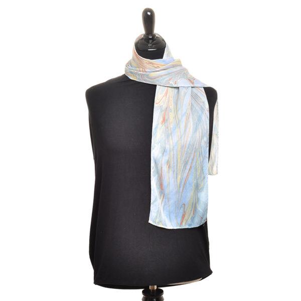 marbled arashi shibori scarf in blue