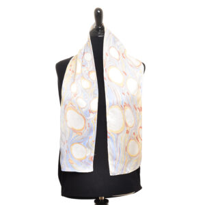 marbled silk scarf in blue white and red