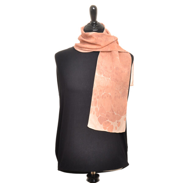 handmade silk chiffon scarf marbled with red ocher paints