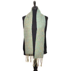 handspun and handwoven twill blocks aqua and yellow scarf