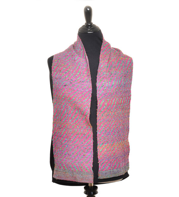 handwoven scarf double wave in twill pattern and sari scarf, pink handwoven silk and cotton scarf