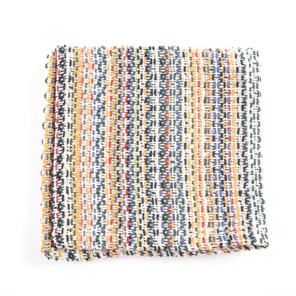 white mulitcolored cotton handmade dish cloth