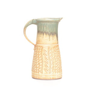 cream and turquoise handmade wheel thrown ceramic water pitcher, tall handmade pitcher