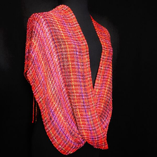 hand woven red cotton and rayon swoop wrap shawl