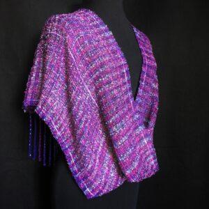 dark purple handwoven plaid wrap swoop infinity
