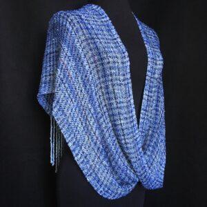 handwoven blue infinity shawl swoop