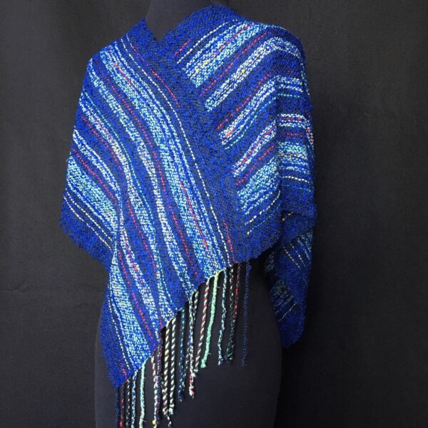 blue striped handwoven swoop infinity shawl