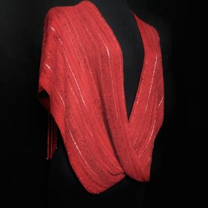 bright red handwoven knit infinity wrap shawl