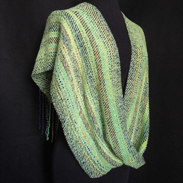 light green handwoven striped green infinity swoop shawl