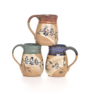 wheel thrown bluebird mug