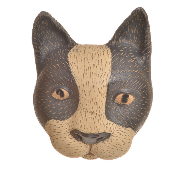 sculpted cat head made of clay for the wall