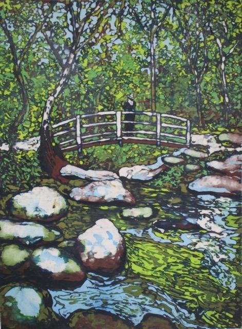 wax resist painting cross the creek