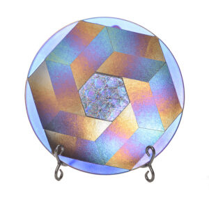 fused glass escher flower bowl