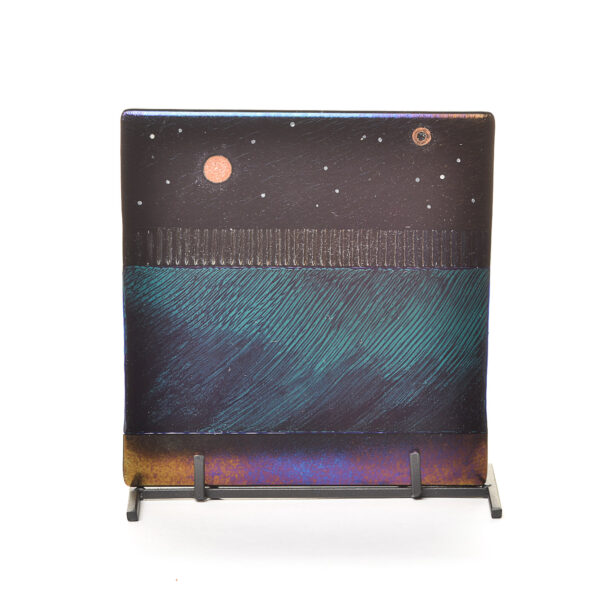 starry night landscape fused glass