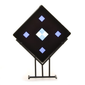 fused glass on stand celtic knot