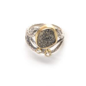 multi-twig riverstone two gem ring