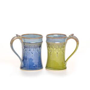 blue or green 8 oz stamped mug