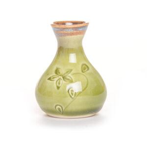 short stamped bud vase green