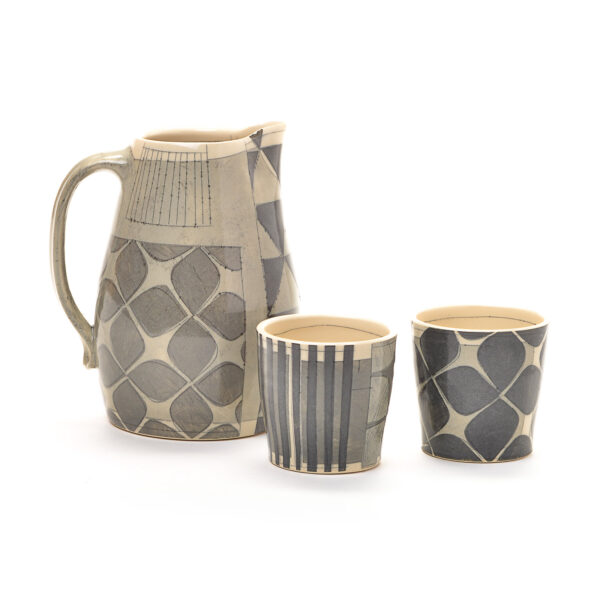 black and white pitcher and cups by kristin schoonover black and white show