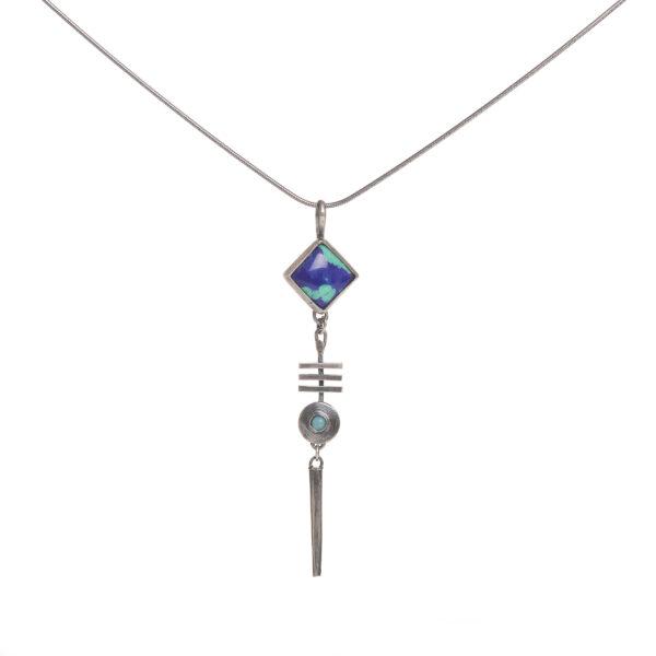 Azurite Malachite and Amazonite Necklace