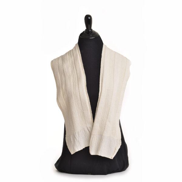 white handspun scarf organic cotton