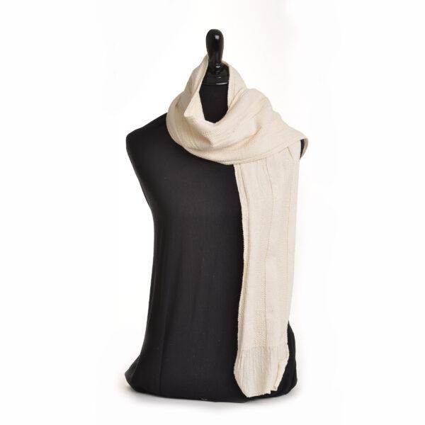 white handspun scarf