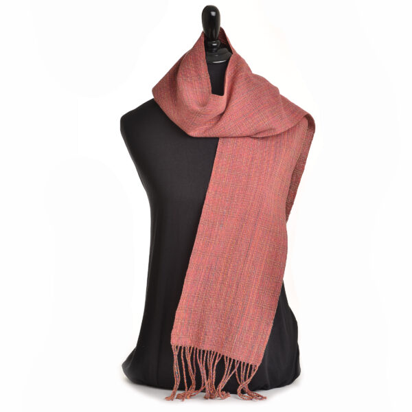 handwoven scarf in reds and oranges