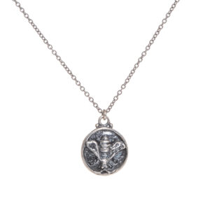 bee coin necklace cast in sterling silver