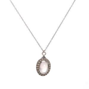 rose quartz fine silver pendant on an oxidized sterling silver 20 inch chain