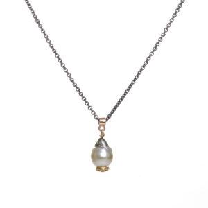 baroque pearl poppy pod pendant in 18k gold with 1mm diamond