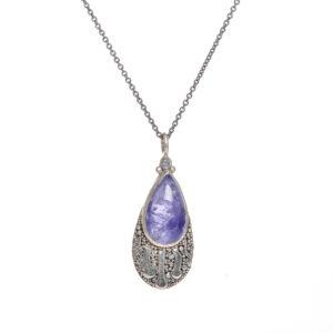 tanzanite fine silver granulated pendant