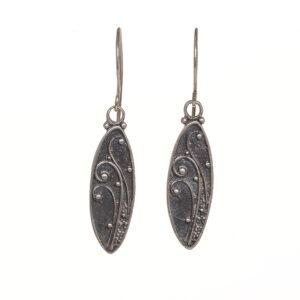 oxidized fern oval earrings large