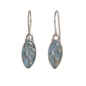 enameled fern oval earrings small ice blue