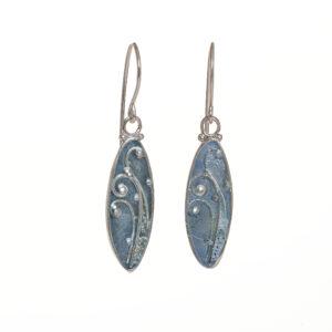 ice blue enameled fern oval earrings large