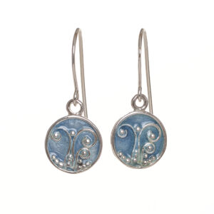 enameled fern circle earrings ice blue