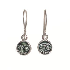 enameled fern circle earrings small