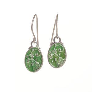 enameled fern oval earrings medium spring green
