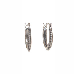medium Etruscan hoop earrings silver